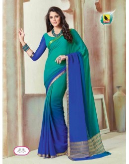 Party Wear Green & Blue Shine Chiffon Saree  - ASHIKA2118