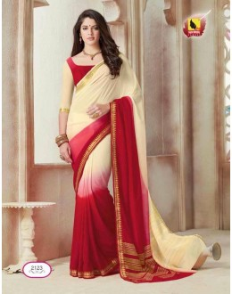 Ethnic Wear Cream & Red Chiffon Saree  - ASHIKA2123