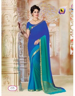 Casual Wear Blue & Green Chiffon Saree  - ASHIKA2125