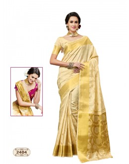 Ethnic Wear Cream Chiffon Cotton Silk Saree  - AASHIKA-2404