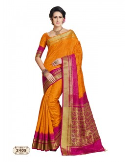 Party Wear Orange Chiffon Cotton Silk Saree  - AASHIKA-2405