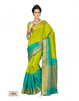 Chiffon Cotton Silk Green & Blue Saree  - AASHIKA-2406