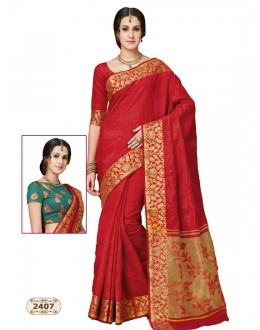 Festival Wear Red Chiffon Cotton Silk Saree  - AASHIKA-2407