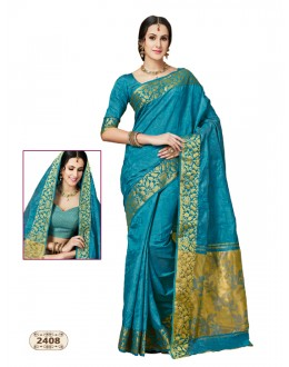 Blue Colour Chiffon Cotton Silk Saree  - AASHIKA-2408