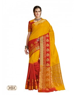 Party Wear Multi-Colour Chiffon Cotton Silk Saree  - AASHIKA-2412
