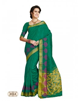 Green Colour Chiffon Cotton Silk Saree  - AASHIKA-2414