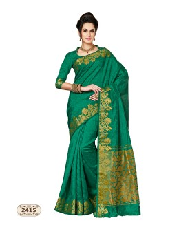 Party Wear Green Chiffon Cotton Silk Saree  - AASHIKA-2415