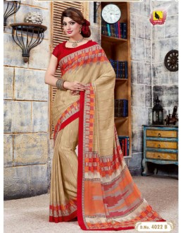 Ethnic Wear Beige Crepe Silk Saree  - 40221-B