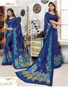 Festival Wear Blue Crepe Silk Saree  - 4023-A