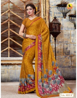 Ethnic Wear Yellow Crepe Silk Saree  - 4023-B