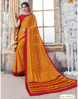 Casual Wear Yellow Crepe Silk Saree  - 4024-B