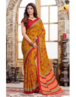 Ethnic Wear Mustard Crepe Silk Saree  - 4026-A