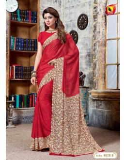 Festival Wear Red Crepe Silk Saree  - 4028-B