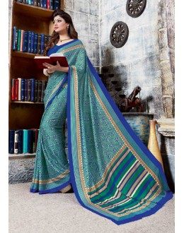Festival Wear Sky Blue Crepe Silk Saree  - 4029-A