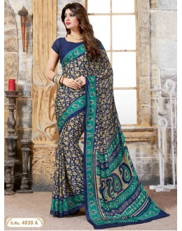 Party Wear Multi-Colour Crepe Silk Saree  - 4030-A