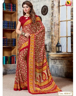 Festival Wear Multi-Colour Crepe Silk Saree  - 4030-B