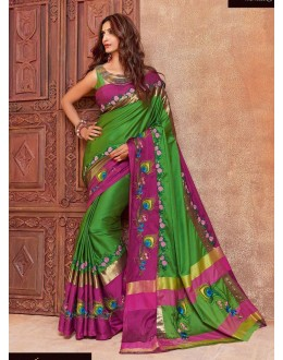 Festival Wear Green & Pink Saree - aangi mayura