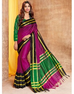 Ethnic Wear Magenta & Green Saree - jhankaar