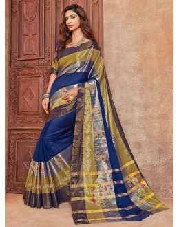 Festival Wear Navy Blue Embroidery Saree - kangan