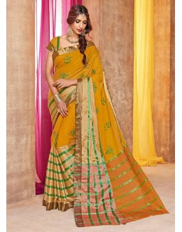 Festival Wear Mustard Yellow Embroidery Saree - mehendi