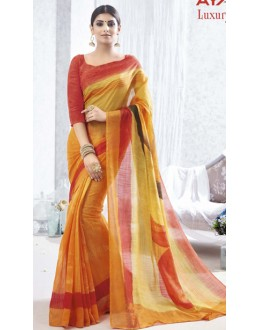 Casual Wear Orange & Red Luxury Silk Saree  - 1613