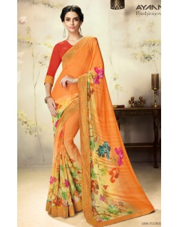 Casual Wear Orange & Red Georgette Saree  - 1806