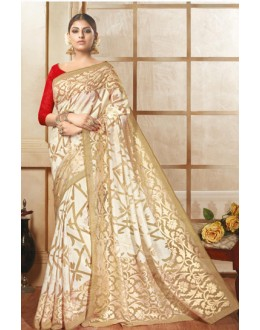 Casual Wear Beige & Off White Brasso Saree  - 1913