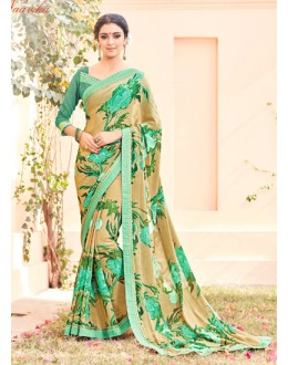 Party Wear Beige Marble Chiffon Saree - AYAAN-2421