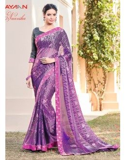 Ethnic Wear Purple Brasso Chiffon Saree - AYAAN-2427