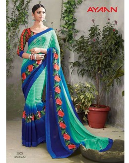 Festival Wear Multi-Colour Chiffon Saree  - 3105