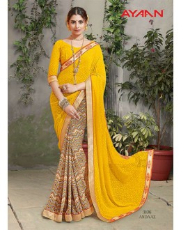 Ethnic Wear Multi-Colour Embroidery Saree  - 3106