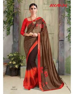Ethnic Wear Brown Chiffon Saree  - 3107