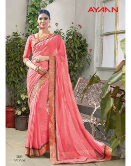 Party Wear Pink Viscose Georgette Saree  - 3109