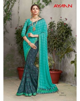 Multi-Colour Georgette Half & Half Saree  - 3110