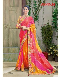 Ethnic Wear Multi-Colour Chiffon Saree  - 3111