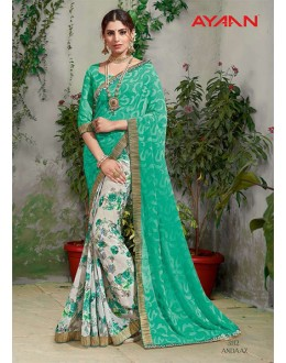 Casual Wear Multi-Colour Half & Half Saree  - 3112