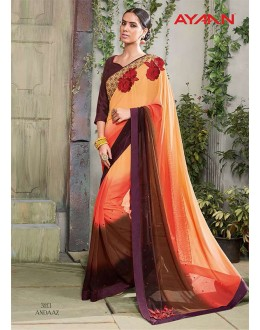 Ethnic Wear Multi-Colour Georgette Saree  - 3113