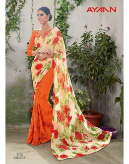 Casual Wear Multi-Colour Georgette Saree  - 3116
