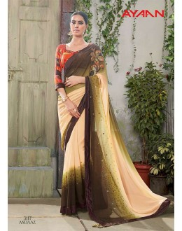 Multi-Colour Georgette Half & Half Saree  - 3117