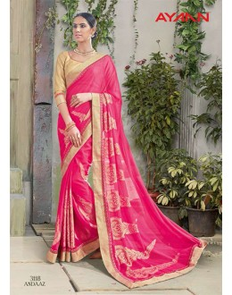 Ethnic Wear Pink Georgette Saree  - 3118