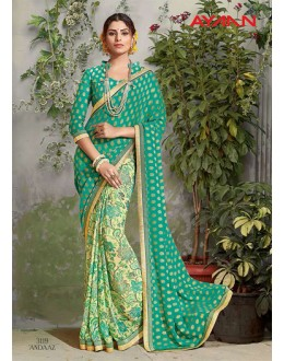 Multi-Colour Georgette Half & Half Saree  - 3119