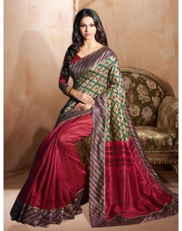 Festival Wear Multi-Colour Bhagalpuri Khadi Silk Saree  - 3231