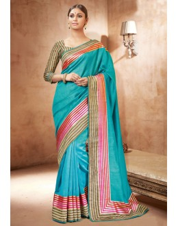 Ethnic Wear Blue Bhagalpuri Khadi Silk Saree  - 3232