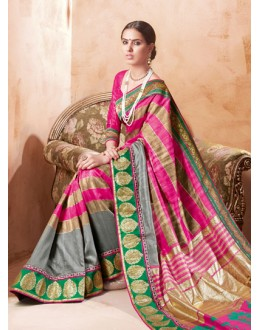 Party Wear Multi-Colour Bhagalpuri Khadi Silk Saree  - 3235