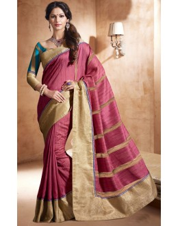 Ethnic Wear Pink Bhagalpuri Khadi Silk Saree  - 3242