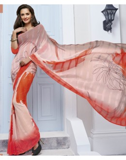 Casual Wear Pink Marble Georgette Saree  - 11610-A
