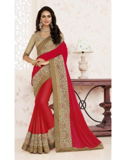 Ethnic Wear Red Crepe Chiffon Saree  - BELA-12240