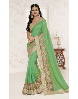 Moss Wrinkle Chiffon Green Saree  - BELA-12242