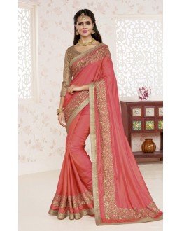 Festival Wear Pink Saree  - BELA-12243