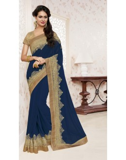 Ethnic Wear Navy Blue Georgette Saree  - BELA-12246